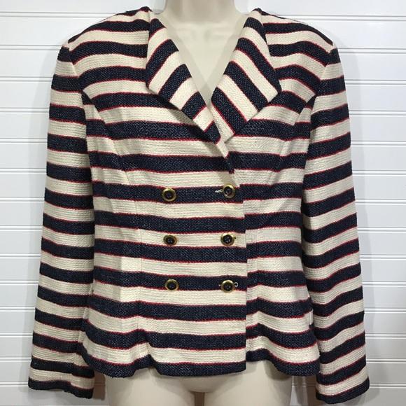 CAbi Jackets & Blazers - CAbi Love Carol Cruise Nautical Stripe Jacket EUC
